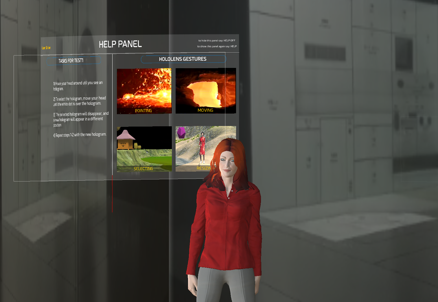 Figure 2. The virtual assistant explaining the use of the help panel