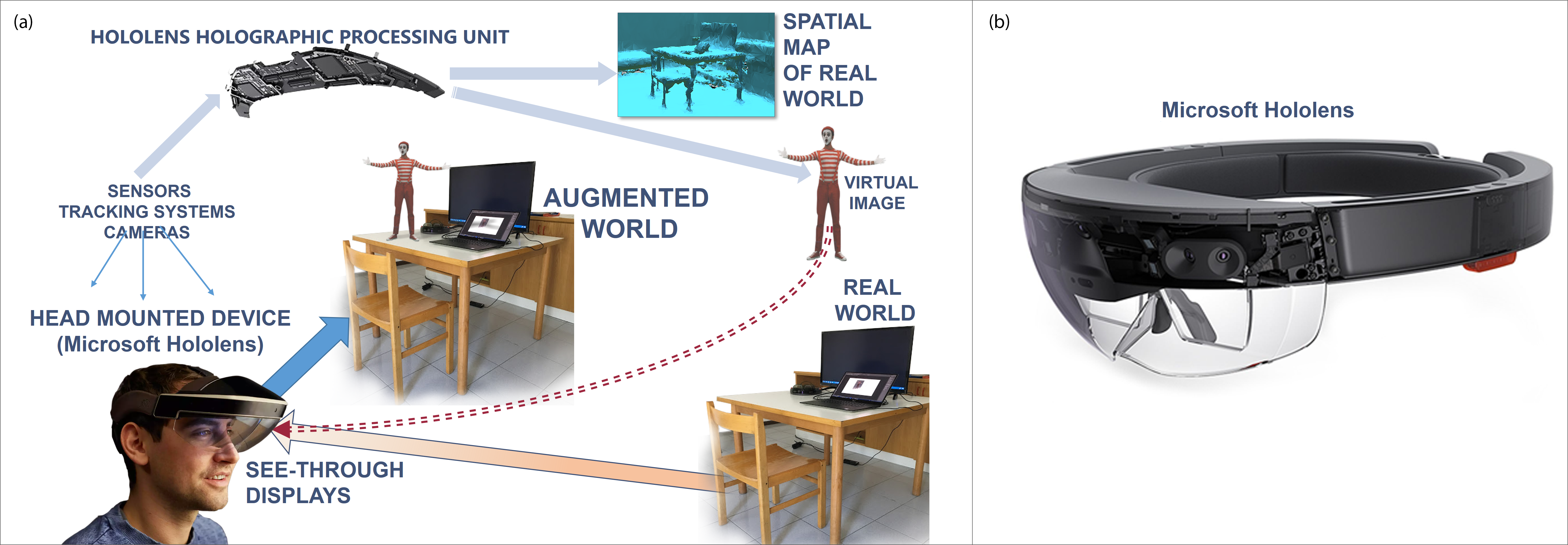Figure 1. A conceptual diagram of an AR system (a) with a head-mounted device and see-through displays